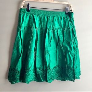 Old Navy Green Embroidered Green Eyelet Skirt